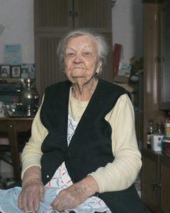 Antonina Kusleyeva talks with journalist. Antonina was born in 1917.